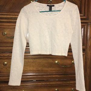 Long sleeve white crop top